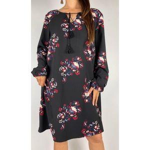 AVELLA Black Floral Boho Tassel Tunic Dress Sz 18